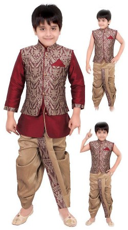 Magnificent Red And Beige Kid Boys Indo Western Dhoti Style Sherwani DT205353