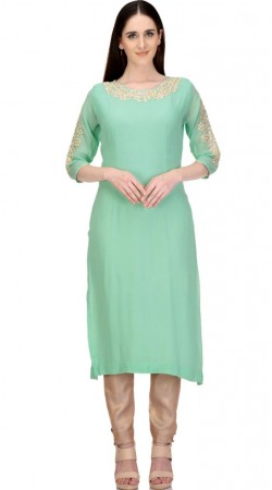 Magnificent Sea Green Chanderi Designer Long Kurti With Resham Work SMC2602