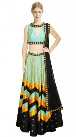 Magnificent Sea Green Silk Crop Top Lehenga With Sequins Work Border Dupatta SUUDL9915