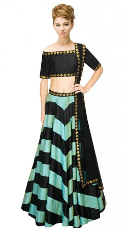 Magnificent Sky Blue Silk Sequins Work Designer Lehenga Choli SUUDL10915