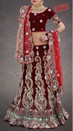 Majesty Maroon Bridal Lehenga Choli FA2002556