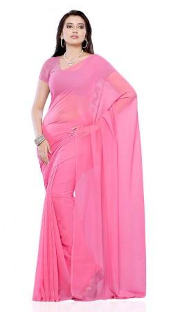 Stylish Light Pink Chiffon Plain Saree With Matching Blouse BP109D10