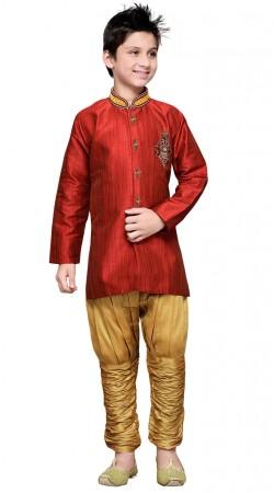 Maroon Art Silk Kid Boy Indo Western Sherwani GR17314