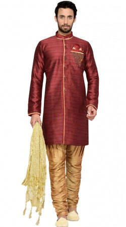 Maroon Brocade Sherwani With Breeches Pant GR143709
