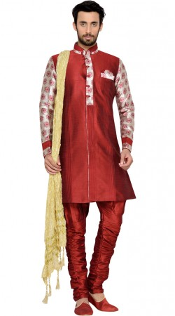 Maroon Brocket Indo Western Sherwani For Men GR145511