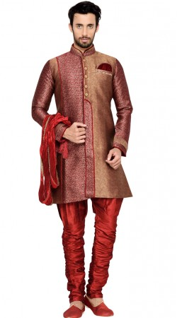 Maroon Brocket Men Indo Western Sherwani GR145611