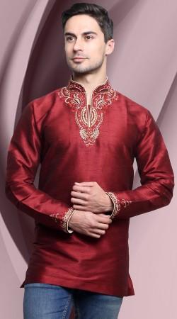 Maroon Dupian Silk Men Short Kurta With Embroidery Work DTDK1063