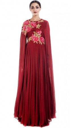 Maroon Floor Length Anarkali With extra Long Sleeves SUUDS51530