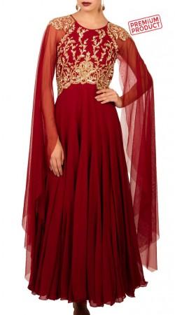 Maroon Georgette Designer Bell Sleeves Anarkali Suit BP4234
