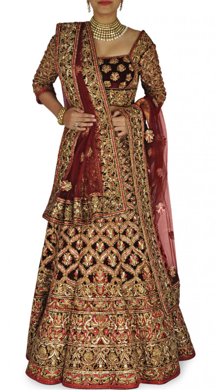 Maroon Indian Bridal Lehenga With Heavy Work Sm0904