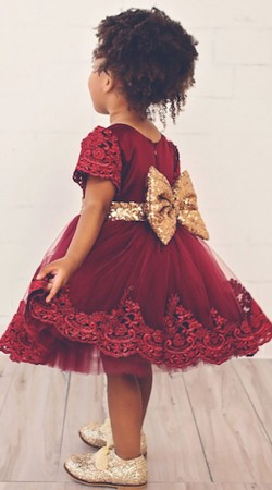 Maroon Net Birthday Party Tutu Frock With Golden Bow BP0953
