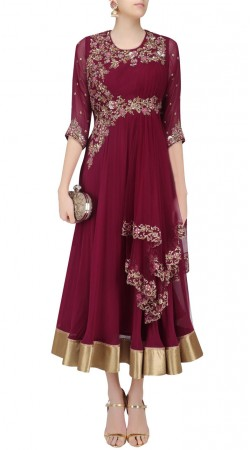 Maroon Net Designer Anarkali Suit With Dupatta SUUDS43720