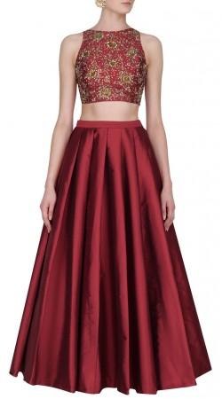 Maroon Silk Designer Crop Top Lehenga For Party SUUDL30531