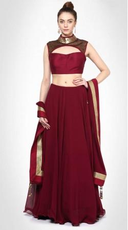 Maroon Silk Lehenga With Sequins Work Designer Choli SUUDL28727