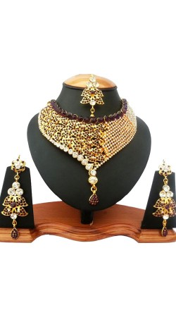 Maroon Stone Work Drop Shape Necklace Set With Tika NNP78004