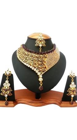 Maroon Stone Work Drop Shape Necklace Set With Tika NNP78004