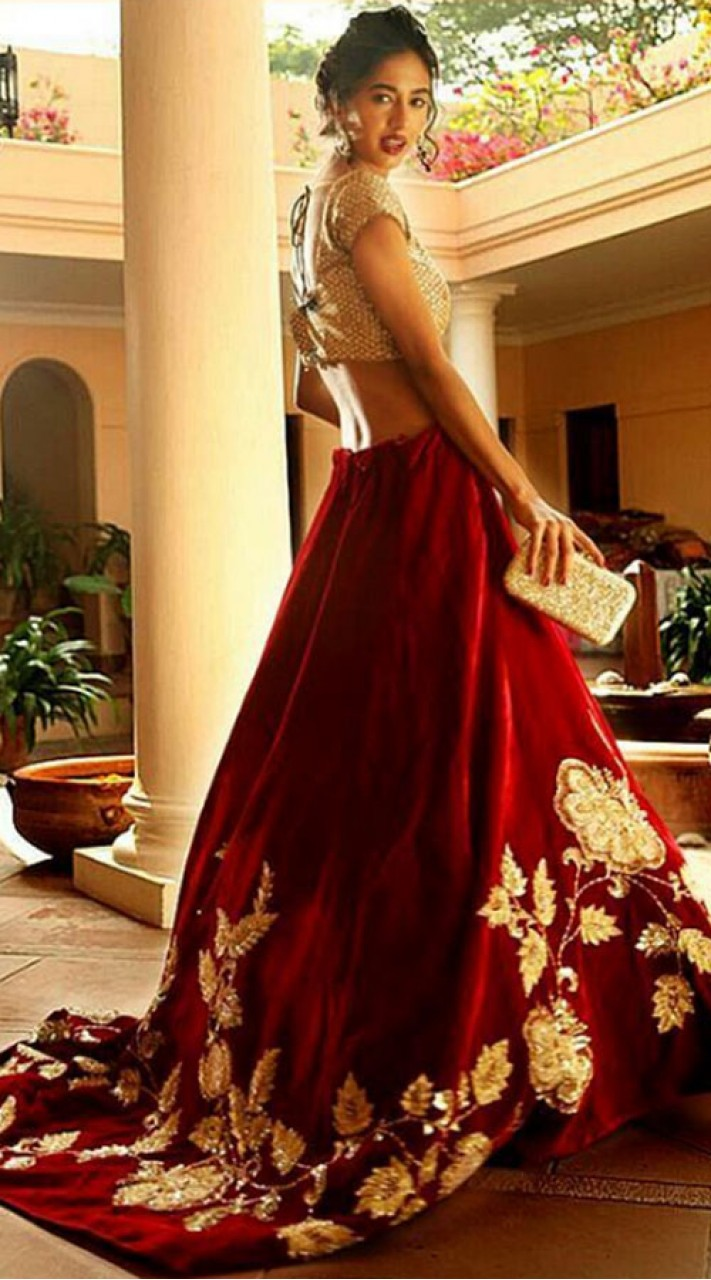 Maroon Designer Trail Lehenga With Crop Top SGR01449