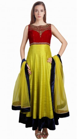 Maroon Yoke Lime Green Silk Party Wear Salwar Kameez With Dupatta SU23811