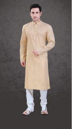 Marvellous Cream Cotton Plain Kurta Payjama For Mens SI0643