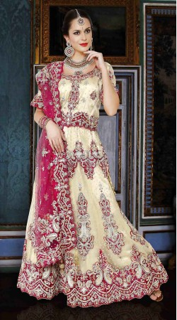 Marvellous Cream Net Semi Bridal Lehenga Choli With Magenta Dupatta DTL345