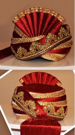 Marvellous Embroidered Red Velvet Groom Wedding Pagri ZP0508