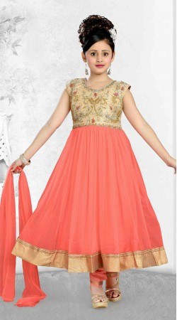 Marvellous Golden Border Salmon Kids Girl Long Anarkali Suit DT10248