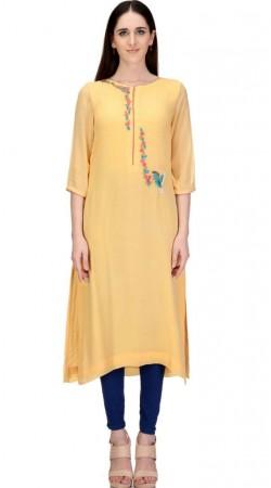Marvellous Lemon Yellow Designer Thread Work Long Kurti SMB1302