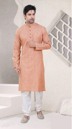 Marvellous Light Peach Cotton Chinese Collar Kurta Pajama SI0742