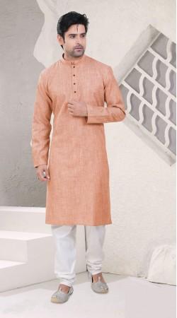 Marvellous Light Peach Cotton Chinese Collar Kurta Pajama SI0742