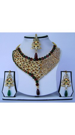 Marvellous Multicolor Stone Work Golden Plated Necklace Set With Tika N61999