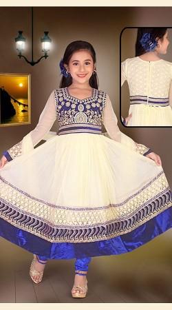 Marvellous Off White Net Kids Girl Long Anarkali Suit DT53544