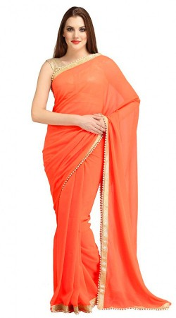 Marvellous Orange Bridesmaid Saree With Pearl Moti Border 2YS118560