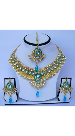 Marvellous Sky Blue Stone Work Golden Plated Necklace Set With Tika N61299