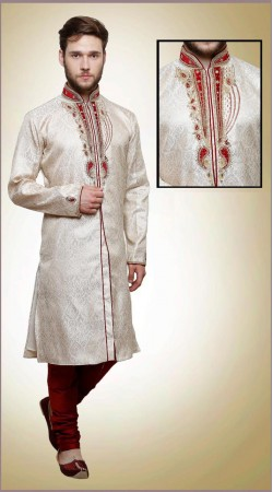 Marvellous White Brocade Neck Work Designer Mens Sherwani DTINDO6460