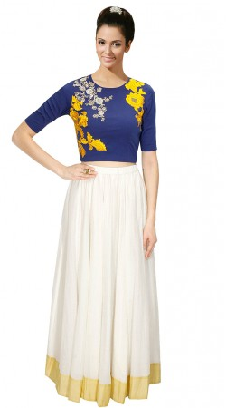 Marvellous White Silk Lehenga With Blue Embroidered Crop Top SUUDL12015