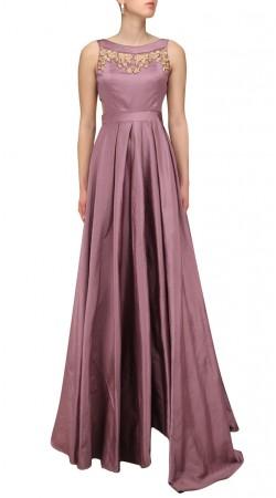 Mauve Silk Plus Size Gown Style Suit SUMS35724