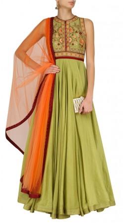 Mehendi Green Silk Floor Length Anarkali Suit SUUDS44926