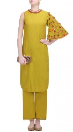 Mehendi Green Silk One Sleeves Kameez SUMS34924