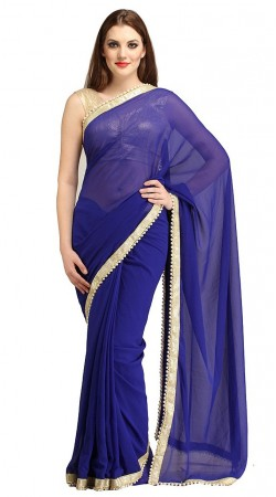 Mesmeric Blue Pearl Moti Border Plain Bridesmaid Saree 2YS118860