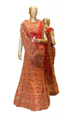 Mesmeric Golden And Red Lamba Bridal Lehenga Choli With Zarkan Work SD0458