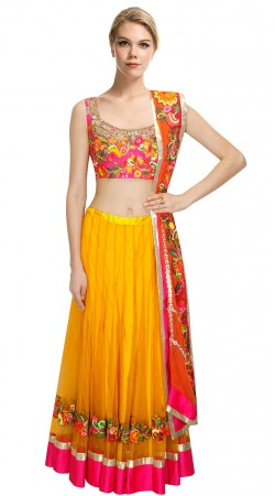 Mesmeric Golden Yellow Silk Lehenga With Designer Floral Work Choli SUUDL11415