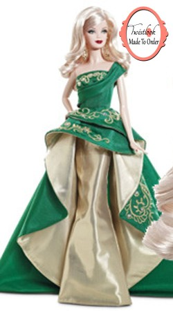 Mesmeric Green And Golden Satin Barbie Designer Gown For Girl BP1413
