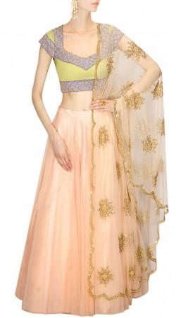 Mesmeric Light Peach Net Lehenga Contrast Silk Choli Hand Work Dupatta SUUDL18218