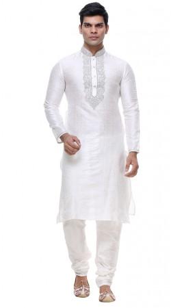 Mesmeric Neck Embroidered White Silk Kurta With Churidar Bottom GR138601