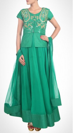 Mesmeric Rama Green Georgette Lehenga Embroidered Choli SUUDL15516
