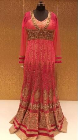 Minimalist Ensemble Fine Net Zarkan work Designer Floor Length Gown LD001406