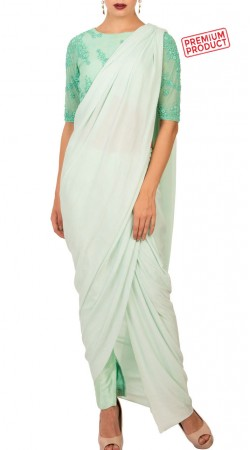 Mint Raw Silk And Net Designer Drape Saree BP3934