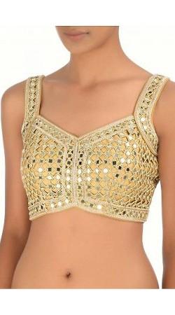 Mirror Work Golden Cream Premium Fabric Designer Blouse For Saree BP0509