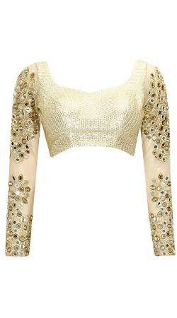 Pretty Mirror Work Sleeves Style White Designer Blouse For Saree BP2909