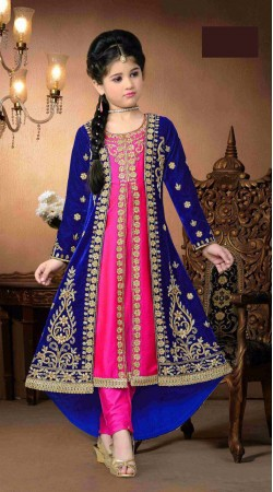 Modernistic Blue And Pink Long Trail Kameez For Kids Girl DT92456